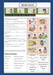 English Worksheets: BEING GOOD