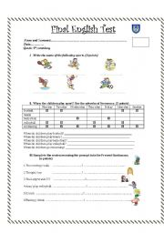 English Worksheet: Test about sports and frequency adverbs