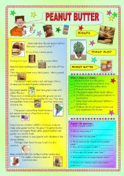 English Worksheets: PEANUT BUTTER - some info (the key included)