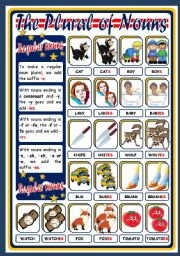 English Worksheet: THE PLURAL OF NOUNS - REGULAR (POSTER)
