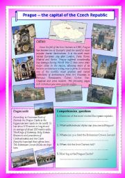 English Worksheet: Prague - the Capital of the Czech Republic, part 2 (editable with key)