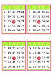 English Worksheet: 28 BINGO CARDS  (American  Bingo)