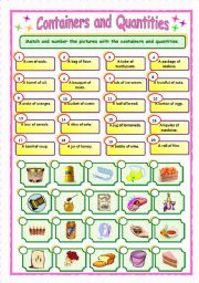 English Worksheet: Containers and Quantities (2/3) - Matching