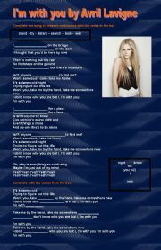 English Worksheet: I�m with you Avril lavigne. A very useful song to practise present continuous