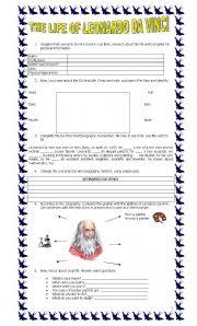English Worksheet: The Life of Leonardo Da Vinci