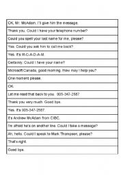 English Worksheet: Jumbled Phone Conversation