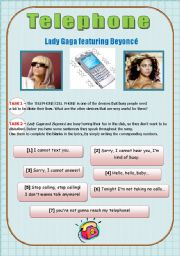 English Worksheets: SONG ACTIVITY - Telephone (Lady Gaga & Beyonc�)