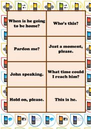 English Worksheet: THE MATCHING SERIES - Phone Conversation Language - MEMORY GAME (2 pages - 16 cards)