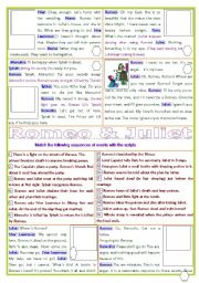English Worksheets: Romeo & Juliet ; Sequences of events
