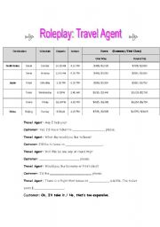 English Worksheets: Roleplay: Travel Agent