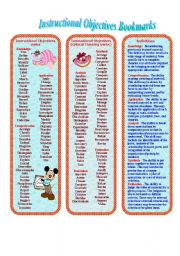 English Worksheets: Instructional Objectives Bookmarks for Teachers