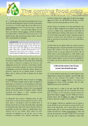 Biofuels and food shortages (extensive reading plus FCE exericses - extra sheet)