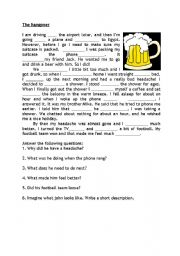 English Worksheets: The Hangover Gapfill and Questions
