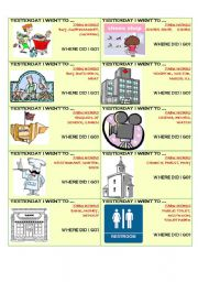 English Worksheets: Tabu game - Past Simple and Places in the City