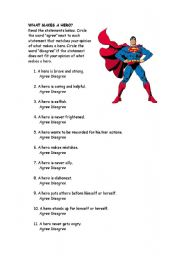 English Worksheets: What makes a hero?