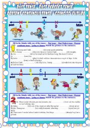 Tenses&Timelines (past/past perfect/present continuous/´going to´ future) 5PAGES B&W answer key included