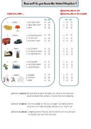 English Worksheet: United Kingdom quiz