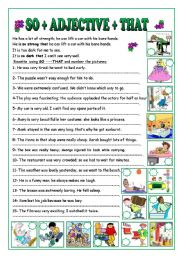 English Worksheets: SO+ADJECTIVE+THAT