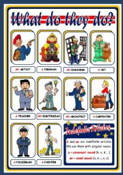 English Worksheet: JOBS AND INDEFINITE ARTICLES - POSTER