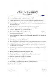English Worksheets: The Odyssey Film Guide