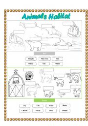 English Worksheets: Animals Habitat - (Farm - Ice) Cut and paste