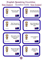 English Worksheet:    English Speaking Countries - Question cards 7 - New Zealand