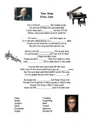 English Worksheet: Your Song Lyrics by Elton John