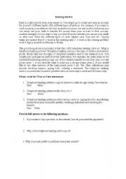 English Worksheet: Banking service