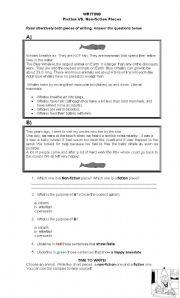 English Worksheets: FICTION  vs. NON FICTION WRITING - SAMPLE