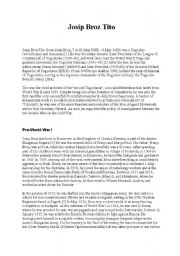 English Worksheets: Josip Broz Tito