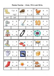 English Exercises Short Vowel Words