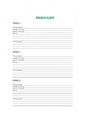 English Worksheets: Videoclip Activity