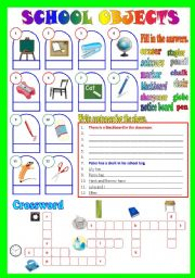 English Worksheet: School Objects (B/W & Keys)
