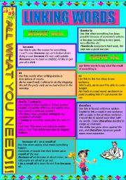 English Worksheet: LINKING WORDS -
