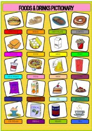 English Worksheet: FOODS & DRINKS PICTIONARY