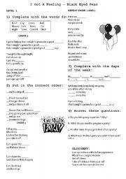 English Worksheets: I gotta a feeling- Black eyed peas