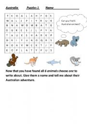 English Worksheets: Australian Animals wordsearch