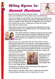 English Worksheets: Miley Cyrus is- Hannah Montana