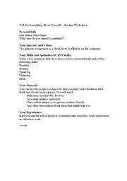 English Worksheets: Tell Me bout u self