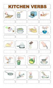 English Worksheet: Identify 20 KITCHEN VERBS
