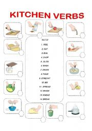 MATCH THE KITCHEN VERBS