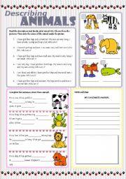 English Worksheet: DESCRIBING ANIMALS