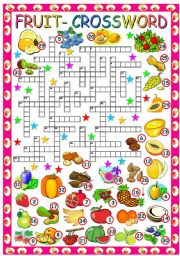 English Worksheet: FRUIT CROSSWORD - (B&W VERSION+KEY INCLUDED)
