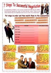 English Worksheet: Seven Steps To Successful negotiation (3 pages with answers)