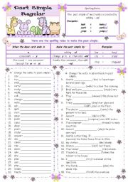 English Worksheet: Past Simple Regular - Spelling