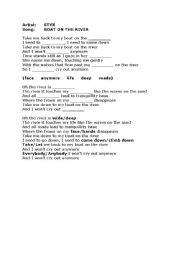English Worksheet: STYX - Boat On The River