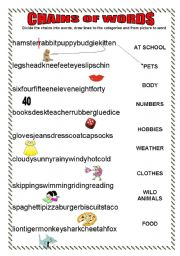 English Worksheets: CHAINS OF WORDS