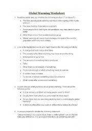 English teaching worksheets: Global warming