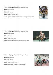 English worksheet: Writing  - Paralympics heroes