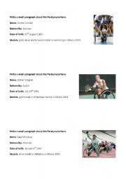 English Worksheets: Writing  - Paralympics heroes